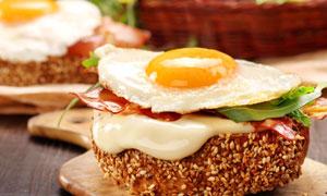 美味煎蛋早餐近景特写摄影高清图片