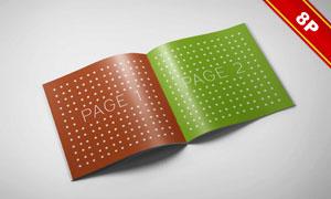画册封面与打开的内页贴图设计模板