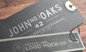 木板上的黑色复古吊牌标签贴图模板