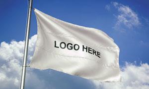 飘扬旗帜上的标志贴图效果分层模板