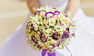在新娘手里的捧花微距摄影高清图片