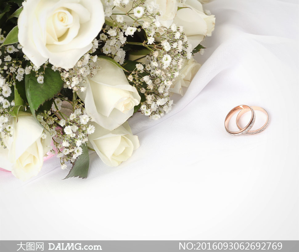 戒指与白色玫瑰花花束摄影高清图片 - 大图网设计素材