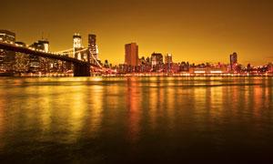 美国都市大桥夜景灯光摄影图片