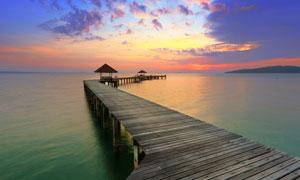 海边码头晚霞美景摄影图片