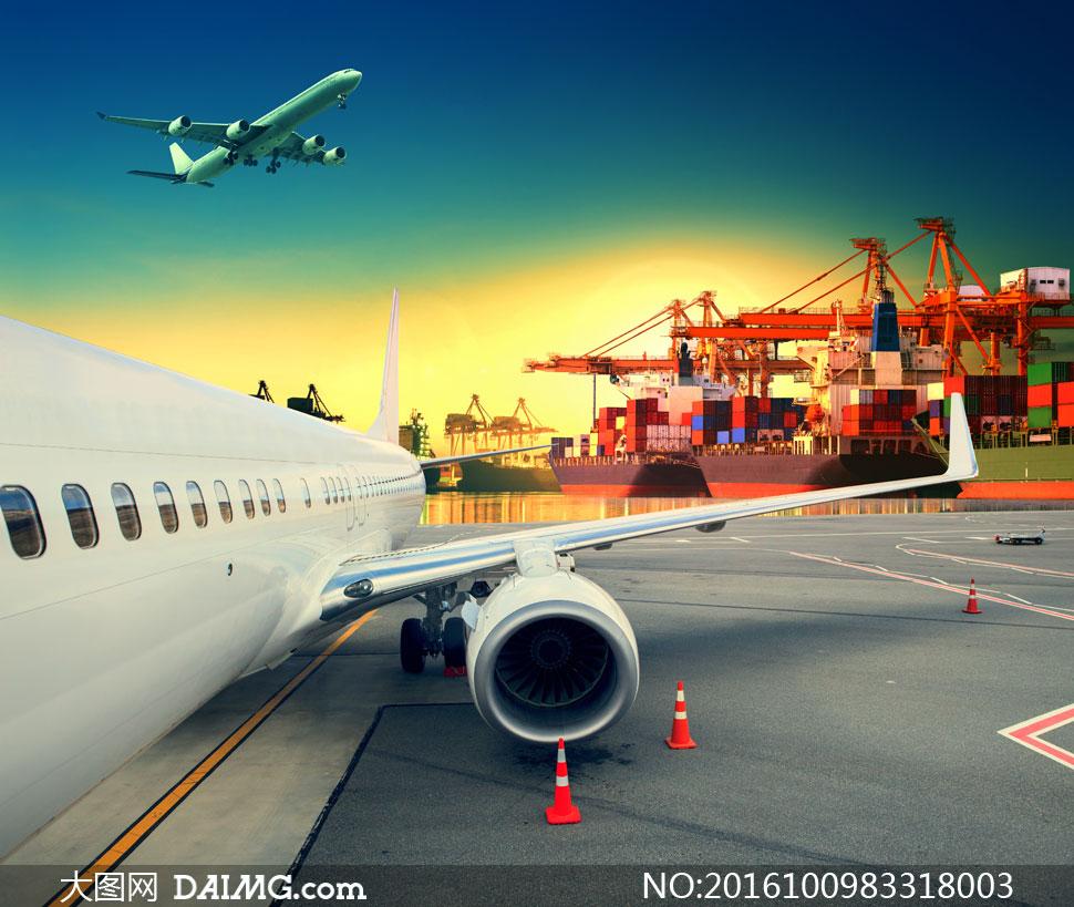 港口集装箱与飞机创意设计高清图片