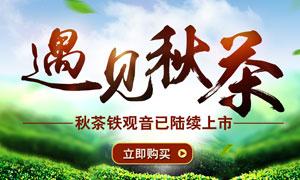 淘宝秋季茶叶全屏促销海报PSD素材
