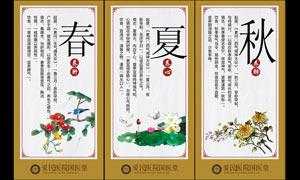 中医四季养生文化展板设计矢量素材