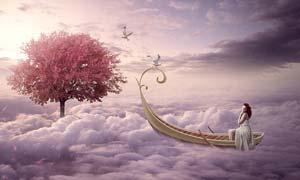 创意的云中小舟场景PS教程素材