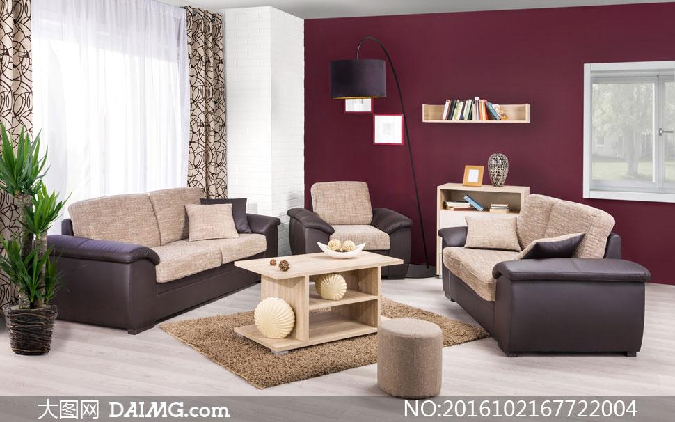真皮沙发与木质茶几等摄影高清图片