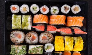 不同馅料寿司微距特写摄影高清图片