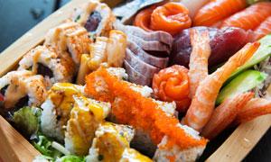 鱼生刺身与寿司等日料摄影高清图片