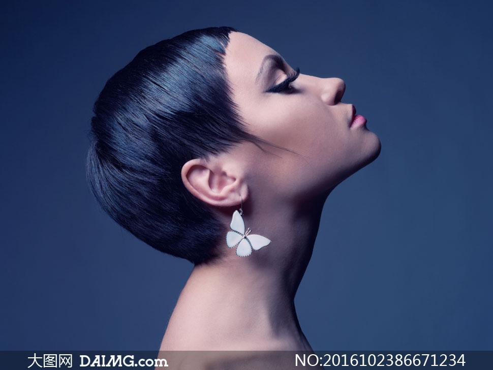 黑色短发造型美女人物摄影高清图片