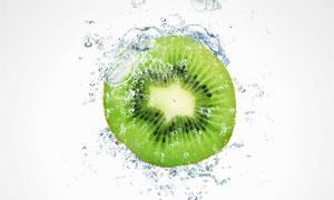 水花泡泡与绿心猕猴桃摄影高清图片