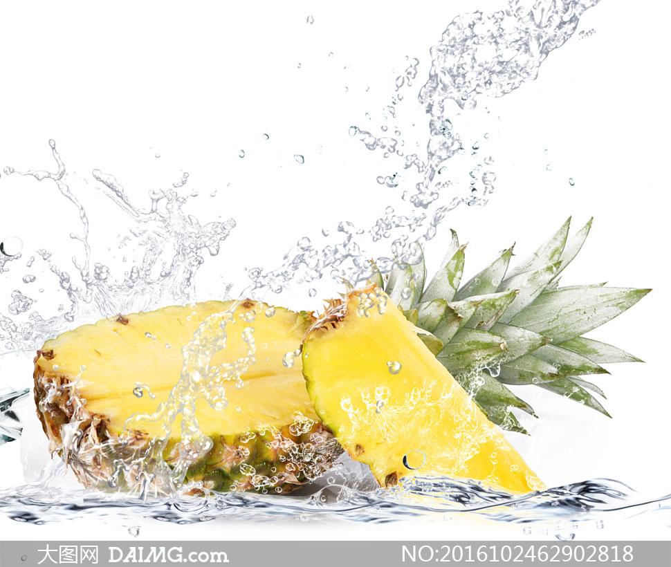 水花与切开的菠萝特写摄影高清图片 - 大图网设计素材