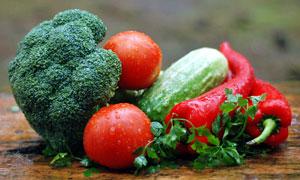 香菜叶与番茄西兰花等摄影高清图片