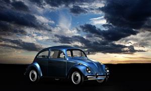 嶄新復古風藍色小汽車攝影高清圖片