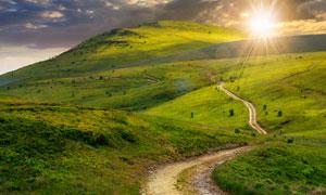 通往山坡上的羊肠小道摄影高清图片