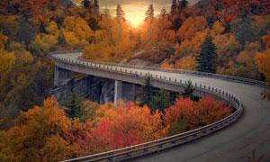盘山公路旁的秋色风光摄影高清图片