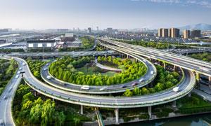 繁忙的城市立交桥路网摄影高清图片