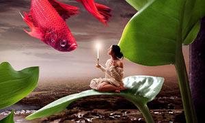在树叶上召唤鱼神场景PS教程教程