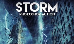 城市被闪电和龙卷风袭击效果PS动作