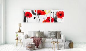 水墨墨迹与红花图案无框画高清图片