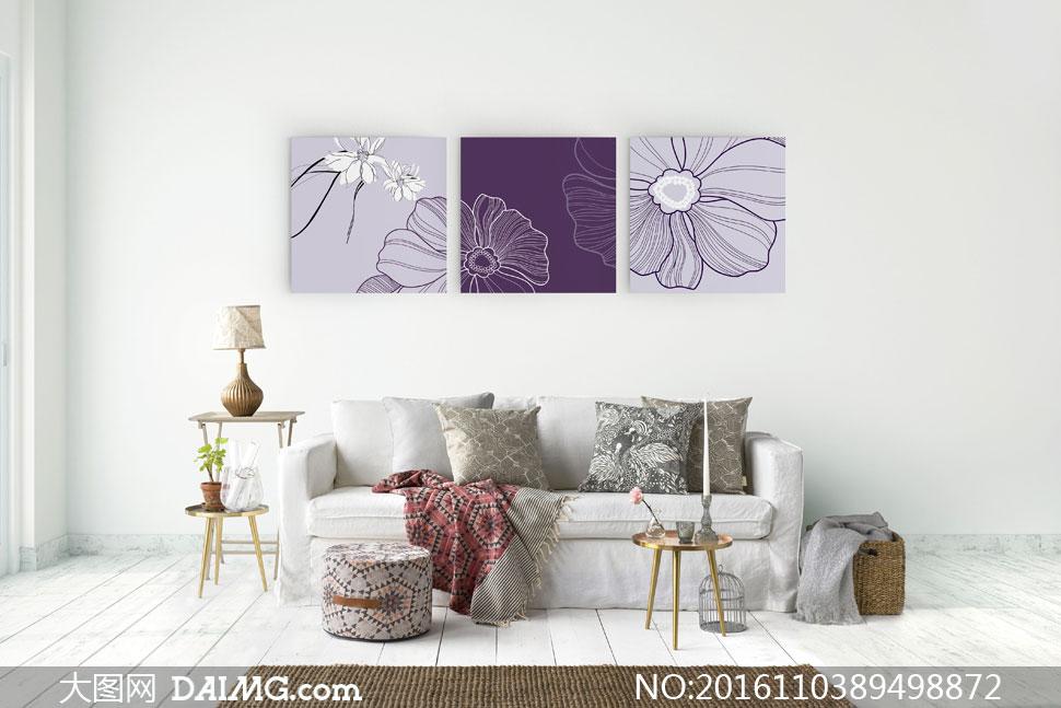 线描风格花朵图案室内挂画高清图片