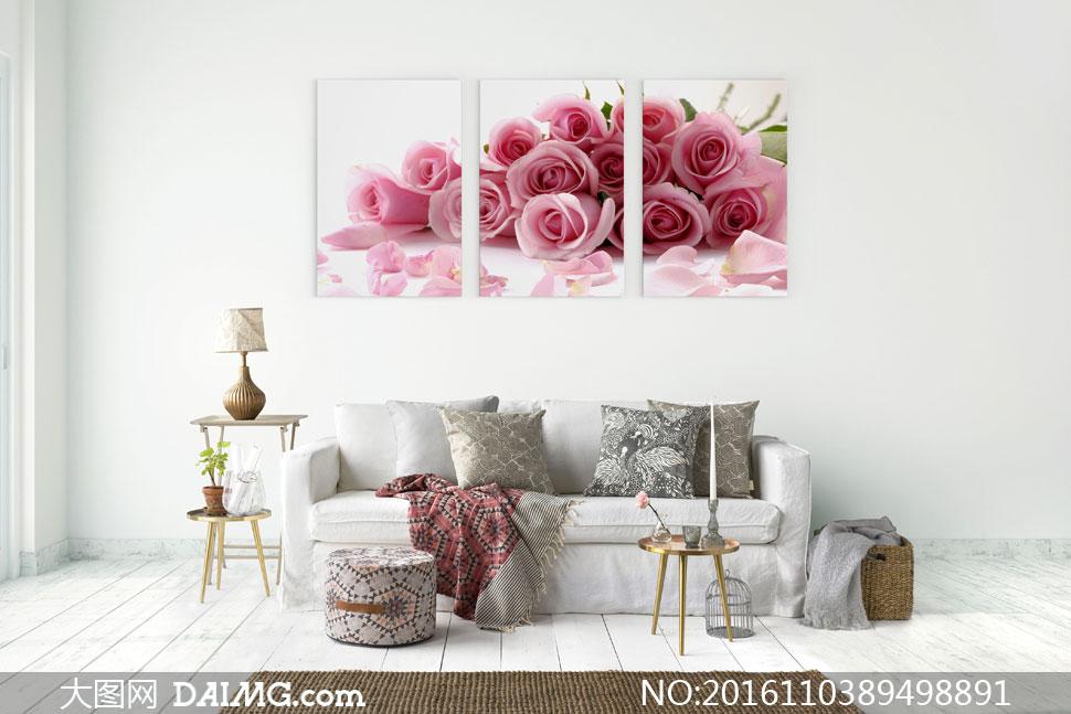 花瓣与玫瑰花束室内装饰画高清图片 - 大图网设计素材