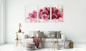 花瓣与玫瑰花束室内装饰画高清图片