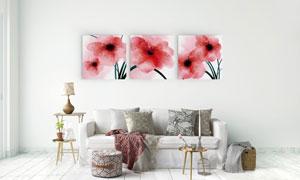 红色水彩花朵室内装饰挂画高清图片