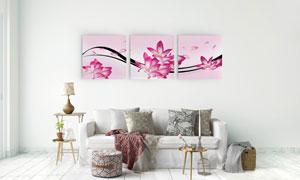 粉红色花朵与曲线等无框画高清图片