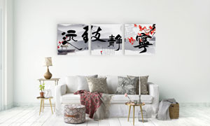 梅花与水墨远山无框装饰画高清图片