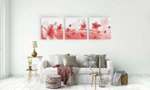 手绘花朵与线条图案无框画高清图片
