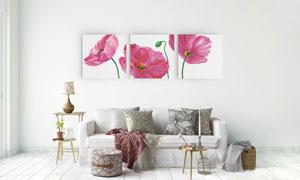 粉红色花朵室内装饰无框画高清图片