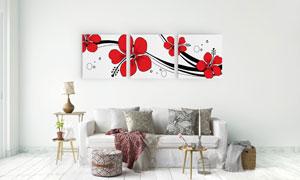 红色花朵与几何线条无框画高清图片