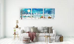 雪人与白茫茫的雪景无框画高清图片