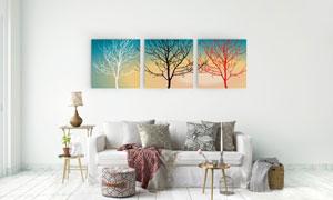 树木剪影创意室内装饰挂画高清图片