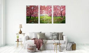 鲜花盛开的春天油画风光无框画图片