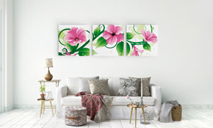 粉红色花朵与绿叶等无框画高清图片