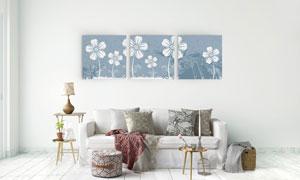 清新淡雅小花朵图案无框画高清图片