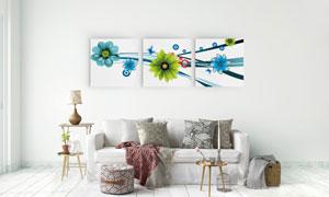 线条花朵创意室内装饰挂画高清图片