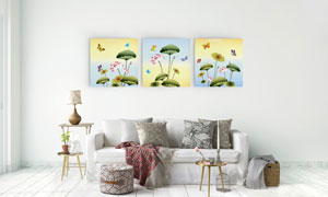 与蝴蝶相伴的荷花装饰挂画高清图片
