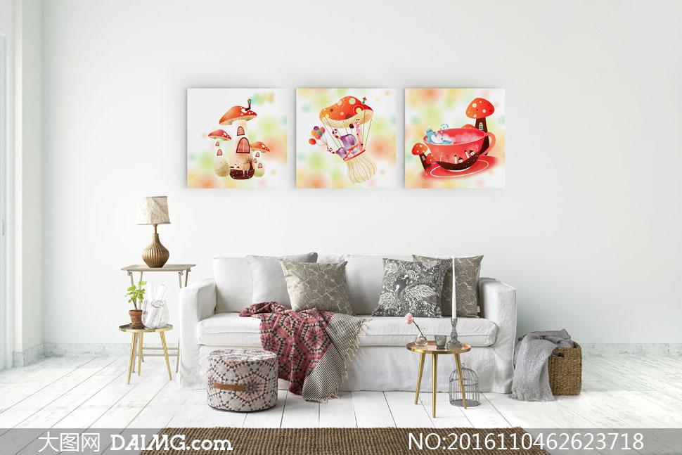 可爱卡通风光蘑菇房无框画高清图片