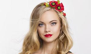 金色卷发红唇美女人物摄影高清图片