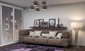 画框装饰品与沙发地毯摄影高清图片