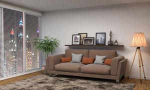 观景房内的沙发家具等摄影高清图片