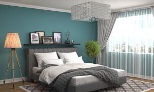卧室水晶灯与大床落地灯等高清图片