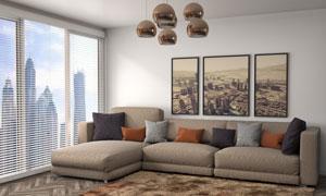 客厅装饰画与沙发吊灯摄影高清图片