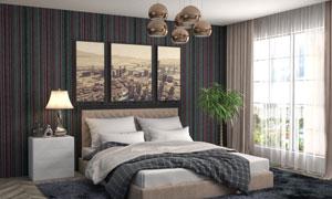 卧室双人床与台灯绿植摄影高清图片