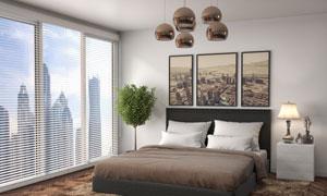 卧室布置与窗外的风光摄影高清图片